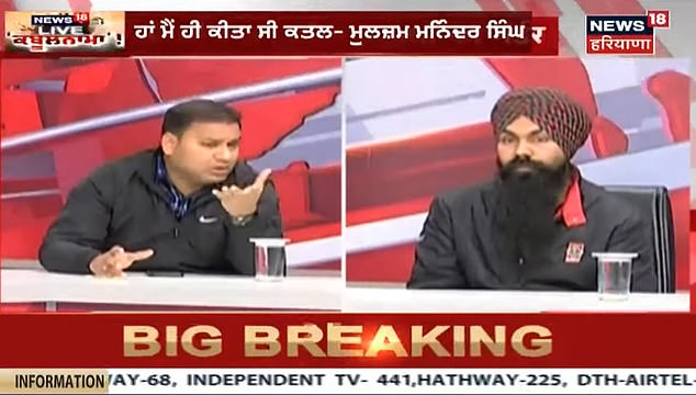 A grab from the News18 shows Maninder Singh (left) in the studio as he gave his confession. He admitted to killing his girlfriend, citing a breakdown in the marriage negotiations with her family as the reason