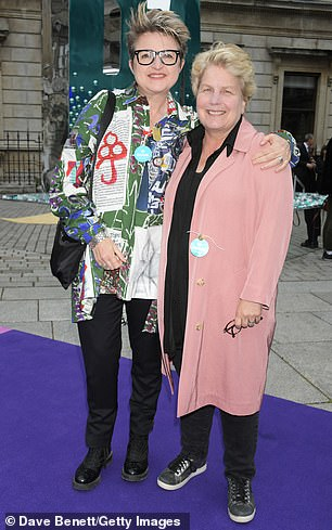 Sandi Toksvig with her wife Debbie at The Royal Academy Of Arts Summer Exhibition preview party in London on June 4, 2019
