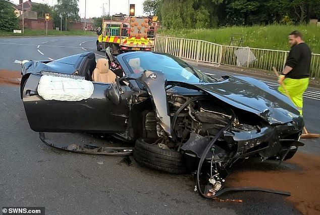 The Ferrari after the crash. Carl Hartley, 32, smashed his grey Ferrari 458 Italia into a Porsche 718 Cayman GTS worth £80,000, owned by Henry James Hibbs