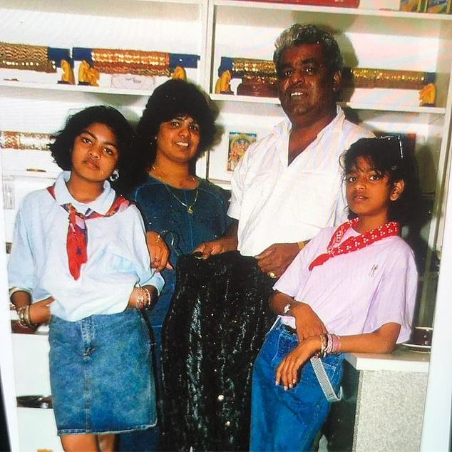 M.I.A (Mathangi Arulpragasam, far right) with mother Kala, father Arul and sister Kali
