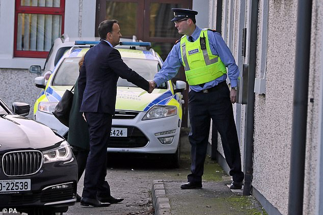 Taoiseach Lo Vradkar arrives at the Drogheda Garda Station on Friday to receive an update on the murder, which he said left him 'shocked'