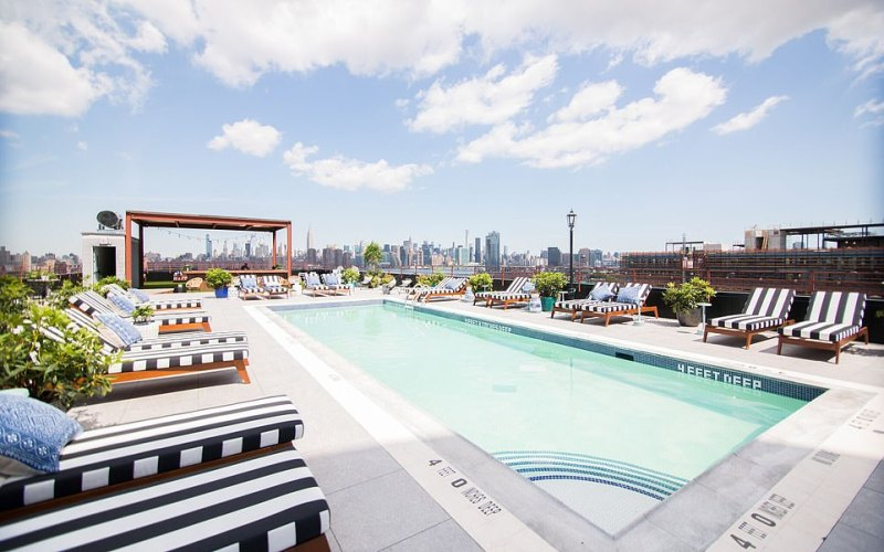The Williamsburg's rooftop pool is an absolute stunner, with dreamy views of the Manhattan skyline