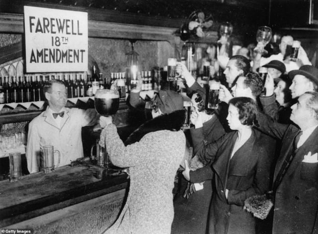 People of New York celebrate the end of the Prohibition on its last day with beer on December 5, 1933.