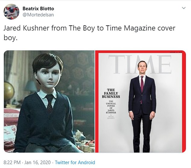 Another user added: 'Jared Kushner from The Boy to Time Magazine cover boy'