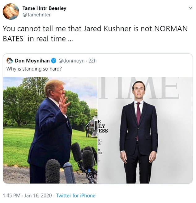 Others compared Kushner's posture to his father-in-laws, noting that they both could do a better job at standing