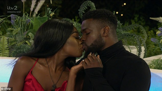 Staying together: Leanne planted a passionate kiss on Mike after he chose to stay with her
