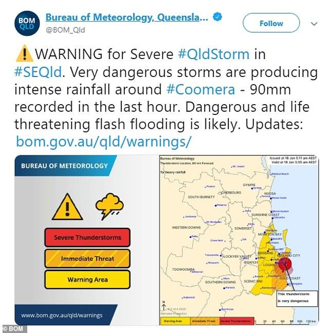 The Bureau of Meteorology warned of 'life threatening' flash flooding at 6.15am