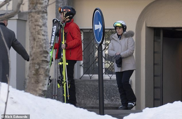 Pictured heading for the slopes with her fiance, Edo Mapelli Mozzi, the Queen¿s granddaughter Princess Beatrice will today be a guest of honour when her friend Dasha Zhukova marries shipping heir Stavros Niarchos in St Moritz