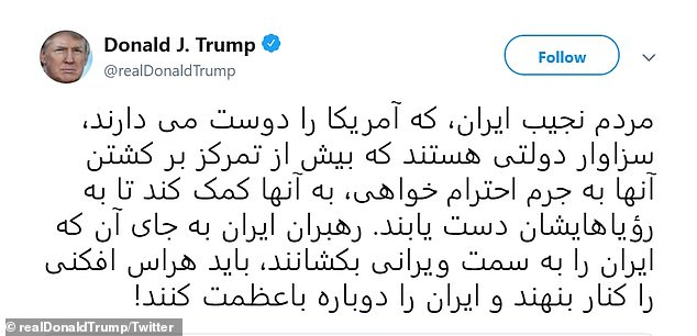 Trump repeated the same tweet in Persian in a direct appeal to the Iranian people