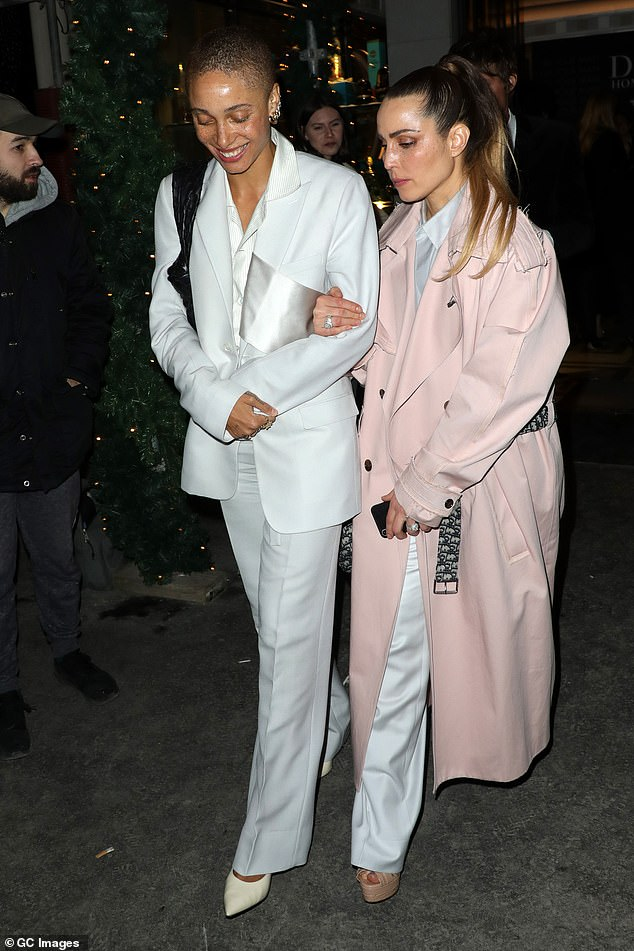 Pals: Actress Noomi Rapace was joined by a female pal as they donned matching white ensembles for the evening