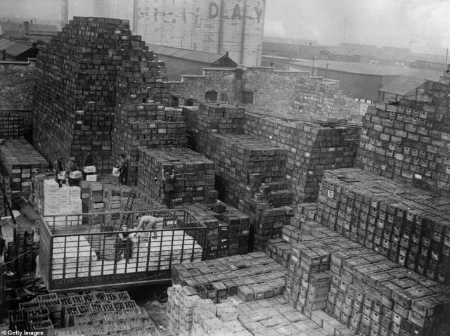 Workmen unload crates of beer stacked at a New York brewery shortly after the repeal of Prohibition, which was ratified with the 21st Amendment on December 5, 1933. It was President Franklin Roosevelt's first order of office after he was elected in a landslide victory against Prohibition-supporting Herbert Hoover.