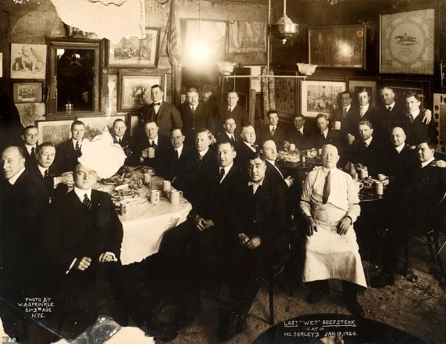 An image from January 1920 shows patrons and staff of McSorley's Old Ale House shortly before the beginning of Prohibition when it turned into an underground speakeasy. The saloon, which still operates to this day, is located in Manhattan's East-Village, and is considered New York City's oldest bar.