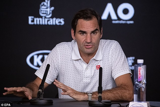 Roger Federer speaks to the media during an Australian Open press conference at Melbourne Park on Saturday