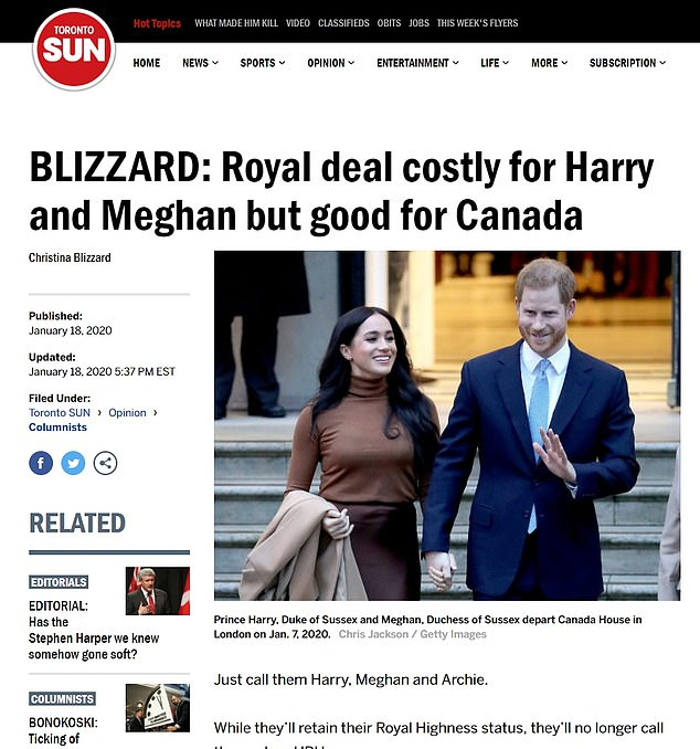 In an opinion piece for the Toronto Sun , Christina Blizzard wrote: 'Yes, we're flattered to have you come stay. No, we don't want to pay for security'