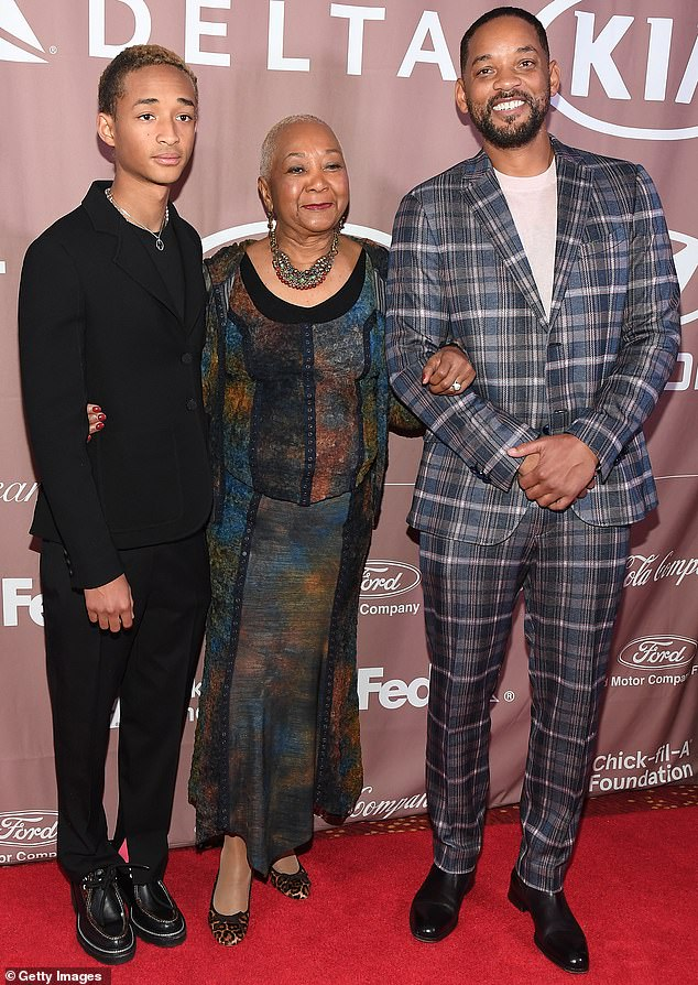 Guest of honor: Jaden Smith cut a sharp look in black Saturday as he was recognized at the Salute to Greatness Awards Gala in Atlanta