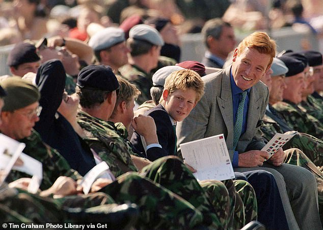 Mark Dyer, Harry's minder, with the young prince in 2003 visiting Wattisham Airfield In Suffolk