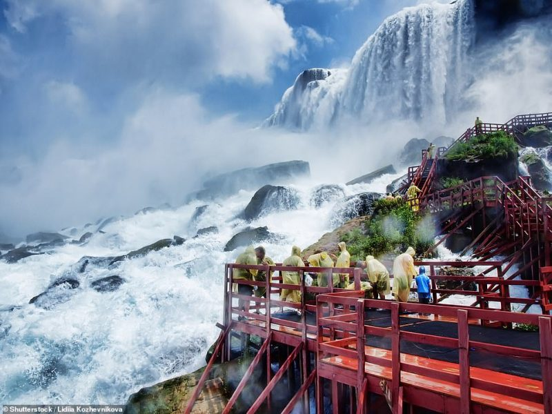 Visitors get drenched at Niagara Falls.If you want to escape the crowds, go on a two-mile walk through Niagara Glen Nature Reserve, or dive into the Falls View Water Park with its 16 water slides, some of which are six storeys high