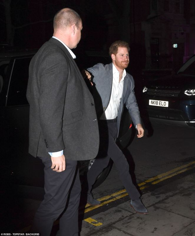The Duke of Sussex was wearing a grey blazer, black trousers and blue suede shoes as he attended a charity event at The Ivy Chelsea Garden on the King's Road
