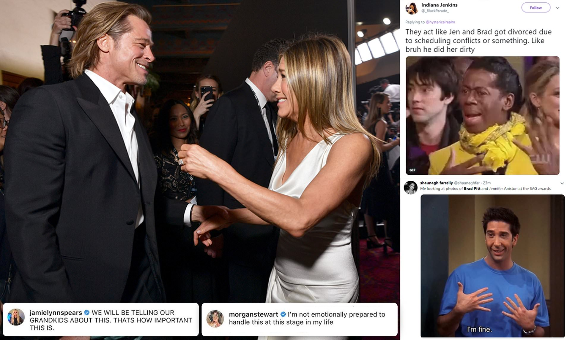 Backstage Pictures Of Brad Pitt And Jennifer Aniston Send Twitter Into A Frenzy Daily Mail Online