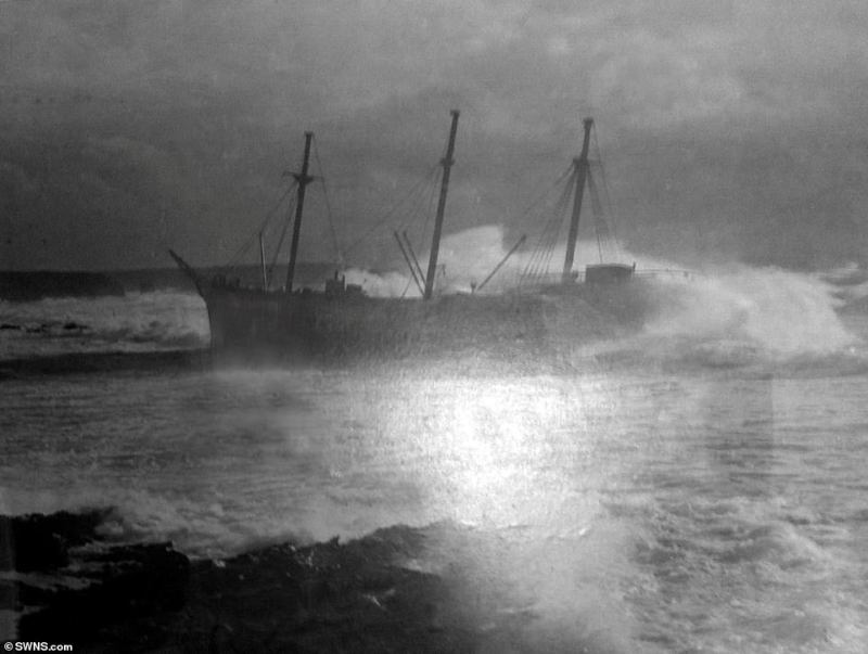 Archive photo of the wrecked SV Carl when it was beached at Booby's Bay, Cornwall. There has even been speculation that that the ship was suspected of being an enemy minelayer