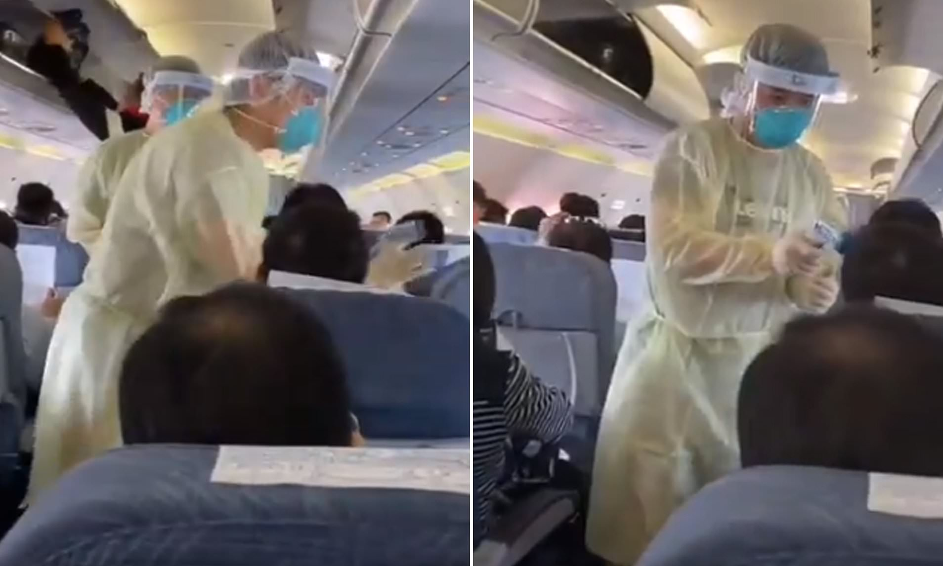 Coronavirus: Medics in hazmat suits scan Air China passengers ...