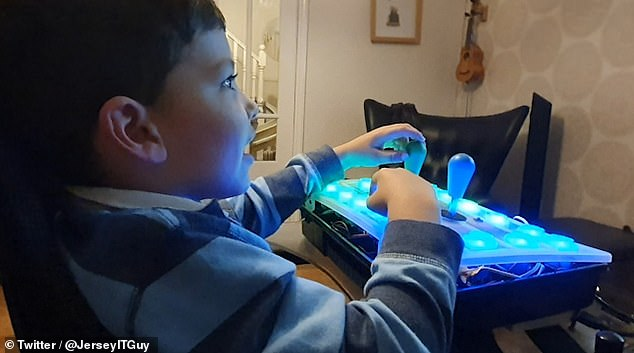 Corban, Ava's five year old brother, has the same condition as Ava and so needs the larger joysticks and big buttons of the customer controller in order to play the game