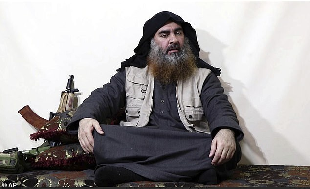 Two intelligence services said al-Salbi took over from Abu Bakr al-Baghdadi (pictured) after the terrorist leader blew himself up in October