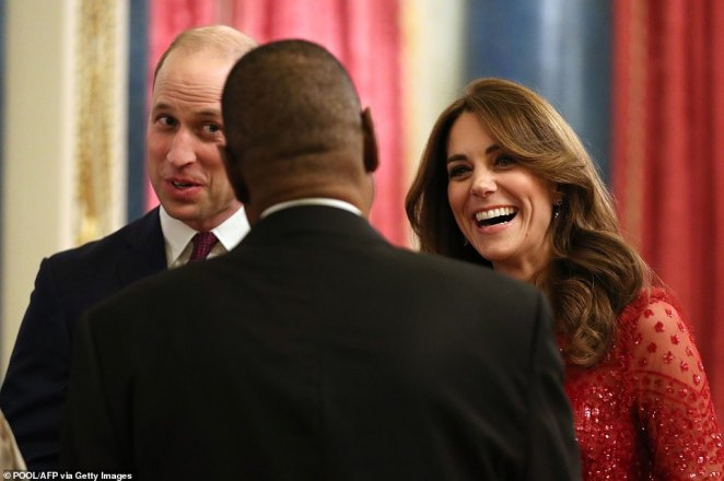 Despite the drama of the past fortnight, William and Kate appeared without a care in the world as they received a line of visiting Heads of State and their partners in the Music Room