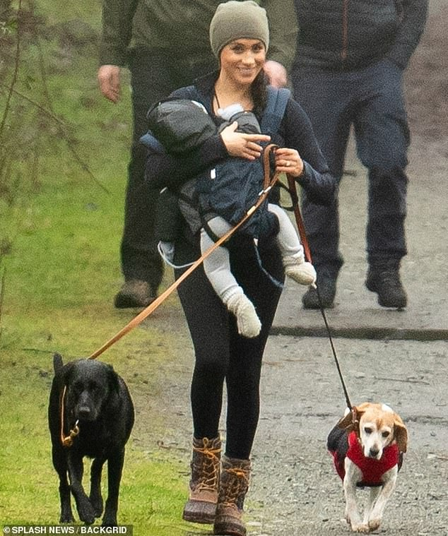 Meghan Markle took son Archie and her dogsOz and Guy for a walk in the woods in Vancouver yesterday as her husband Harry flew in from the UK