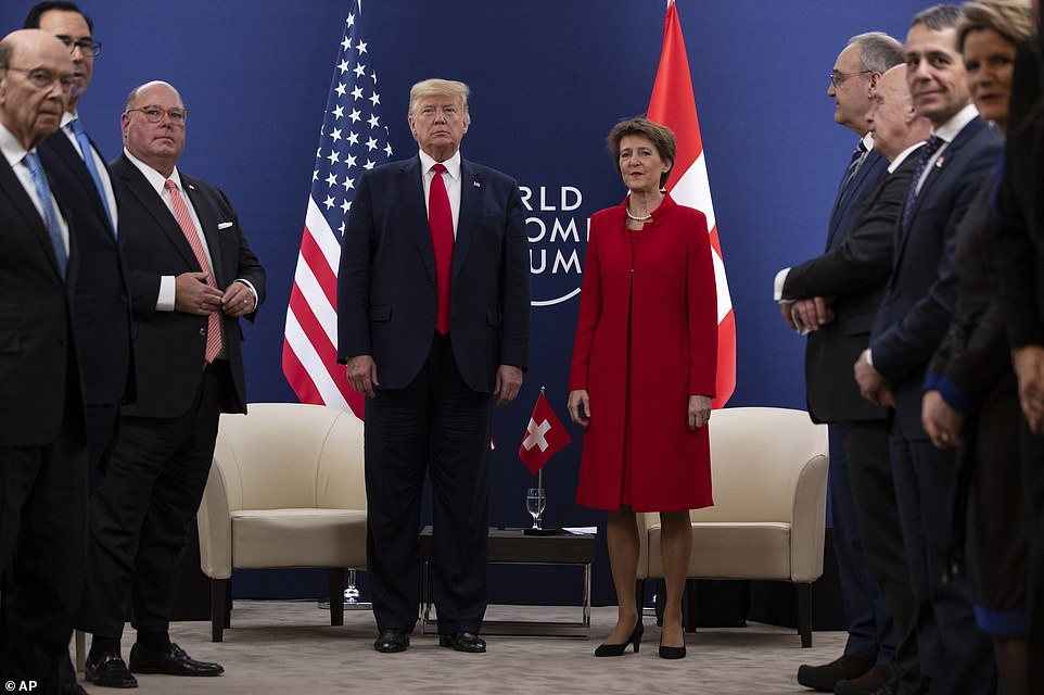 'READ THE TRANSCRIPTS!' tweeted President Trump from Davos, where he had meetings scheduled with world leaders includingSwiss President Simonetta Sommaruga