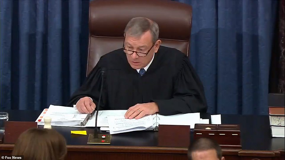 Chief Justice John Roberts is presiding over the trial