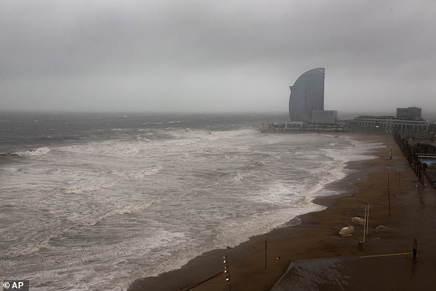 A view of the beach yesterday in Barcelona as Spain continues to be rocked by Storm Gloria