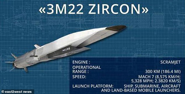 Putin has said the Zircon missile would be capable of flying at nine times the speed of sound and have a range of 1,000 kilometres (620 miles)
