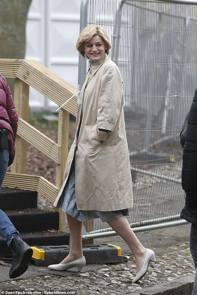 On set:Emma Corrin continued her busy filming schedule for series four of The Crown on Wednesday, shooting scenes in Winchester
