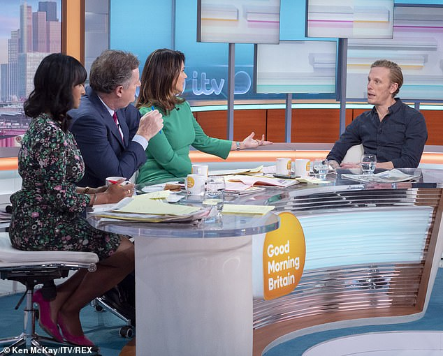 Pictured: Ranvir Singh, Piers Morgan and Susanna Reid with Laurence Fox Good Morning Britain today
