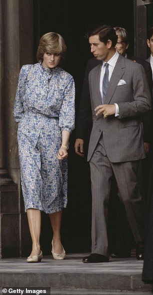 Rehearsal: Emma filmed scenes for what appeared to be a recreation of Diana and Prince Charles' final wedding rehearsal at St Pauls Cathedral in July 1981