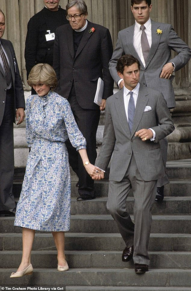 Wedding bells: Lady Diana Spencer and Prince Charles pictured at their final wedding rehearsal in 1981. The fourth series of The Crown is thought to be set in 1977-1990