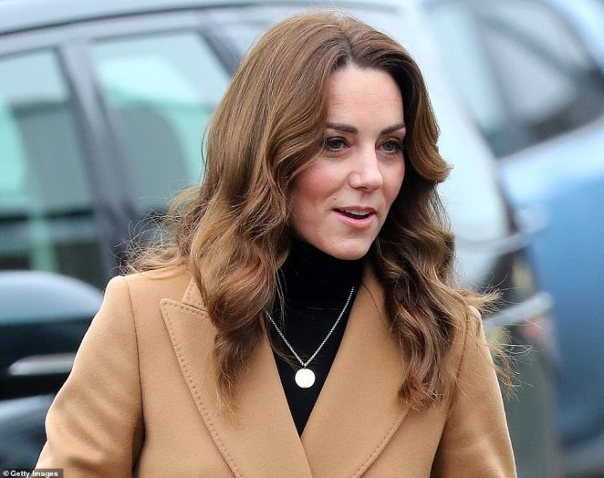 The Duchess of Cambridge arrives at Ely and Careau Children's Centre in Cardiff today during her 24-hour tour of the country