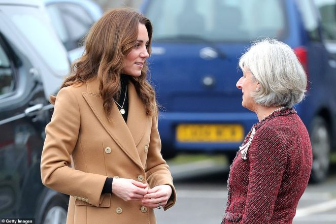 The Duchess of Cambridge arrives at Ely and Careau Childrens Centre in Cardiff today during her 24-hour UK tour