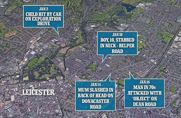 A map showing the incidents dotted around the Leicester area over a two week period