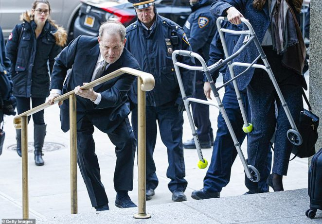 The Hollywood mogul climbed up the stairs as he arrived at a Manhattan courthouse on January 8