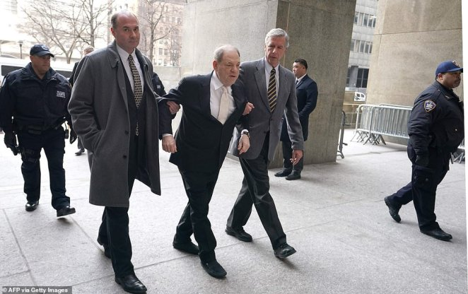 Weinstein arrived on Thursday without the aid of his walker which had used the two weeks prior after back surgery