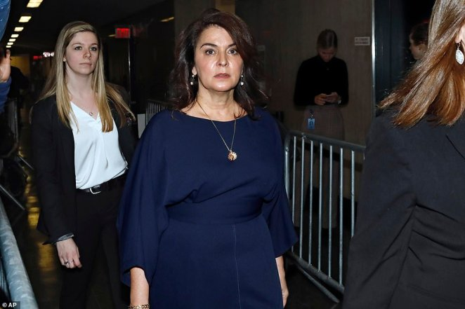 Sopranos actress Annabella Sciorra, pictured center on Thursday, is set to come face to face with Harvey Weinstein as prosecutors try to prove that the once powerful Hollywood producer was a serial sexual predator