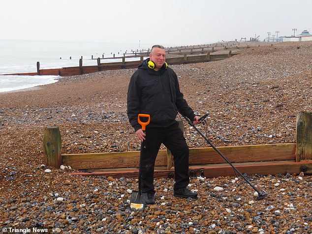The ring was found by hobbyist Geoff Smith (pictured)who was scouring the area at night with his headlamp