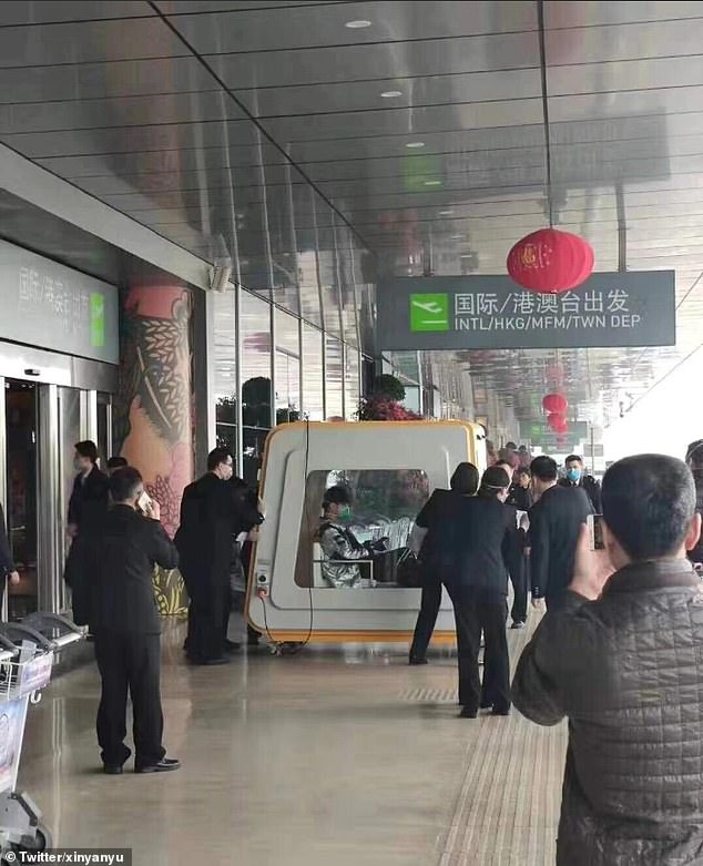 This man has been placed in a quarantine box at Fuzhou Airport, where he is also suspected of contracting the disease