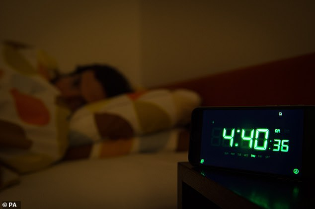 File photo dated 01/04/16 of a person in bed in the early hours of the morning. Children of parents who suffered from insomnia were about a third more likely than others to be insomniacs too