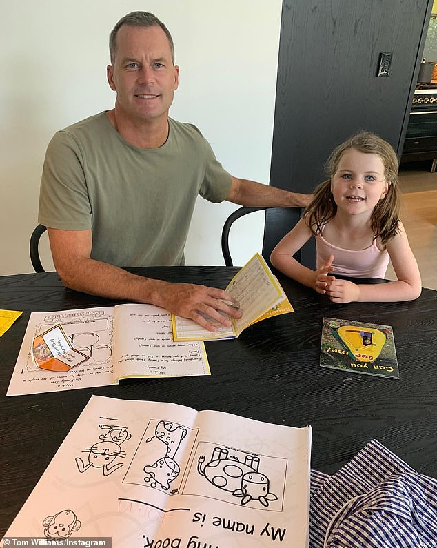 Career: Tom (pictured with his daughter) departed Channel Seven in late 2018 after more than 15 years at the network to start a new position at LJ Hooker Avnu real estate agents in Sydney's North Shore