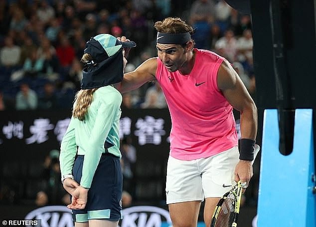 World number one Rafael Nadal accidentally shot a forehand straight into 13-year-old Anita's face