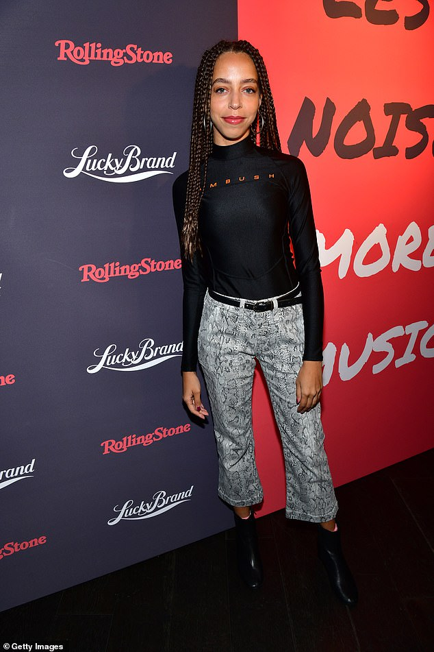 Sssssexy!Hayley Law looked stylish in snakeskin trousers and a poloneck