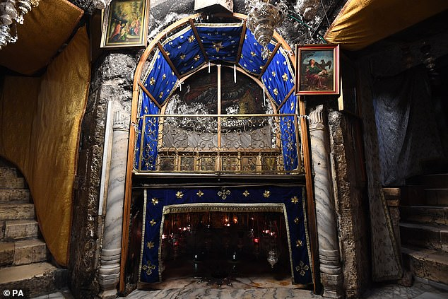 The Manger inside the Church of the Nativity in Bethlehem on the second day of the Prince of Wales' visit
